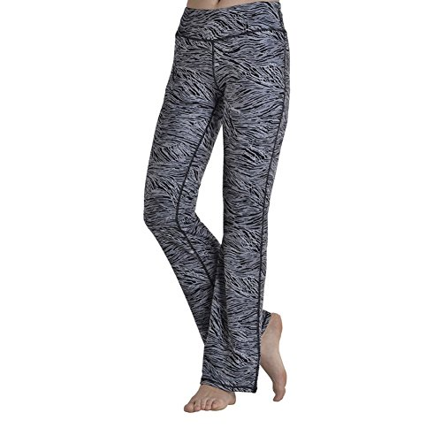 YIDAINLINE Yoga Pants Polyester Trousers for Women, High Waist Capris Ankle Leggings Boot Cut Pants Workout Pants (Stripe, X-Large)