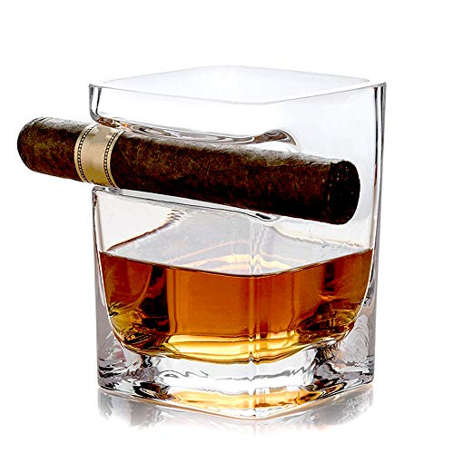 Price comparison product image ALiiSAR Personalized Whiskey Glass Built Cigar Cutter,  1 Transparent