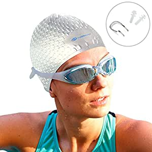 i Swim Pro - Long Hair Swimming Cap, Nose Clip and Ear Plugs - Comfortable Fit: Easy on! Easy off!