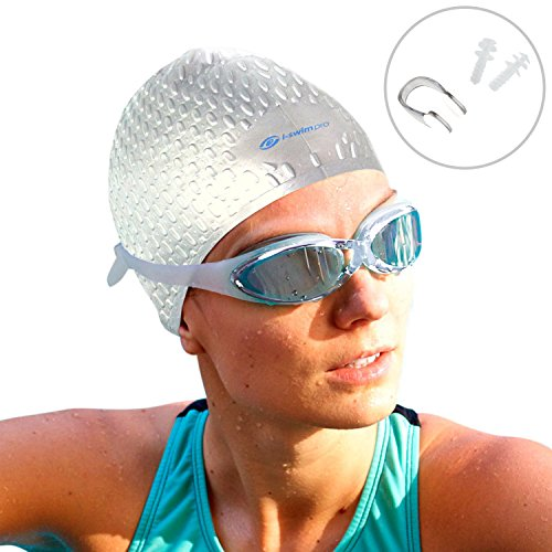 i Swim Pro - Long Hair Swimming Cap, Nose Clip and Ear...