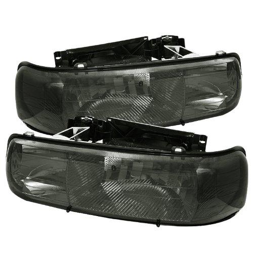 00 Crystal Amber Headlights (Chevy Silverado 1500/2500 / Chevy Silverado 3500 / Chevy Suburban 1500/2500 / Chevy Tahoe Amber Crystal Headlights Chrome Housing With Smoke)