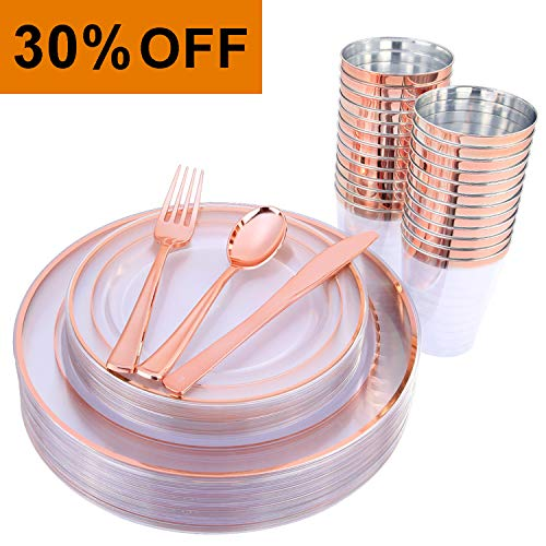 "150 Pieces Rose Gold Cups & Plastic Plates & Disposable Silverware, Crystal Clear Dinnerware Set: 25 Dinner Plates 10.25 "", 25 Dessert Plates 7.5 "", 25 Tumblers 9 Oz , 25 Forks, 25 Knives, 25 Spoons"