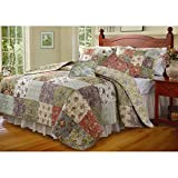 Green Cotton with Reversible, 3-Piece Twin Bedspread Set, Patchwork Pattern and Rustic Theme, Includes Cross Scented Candle Tart