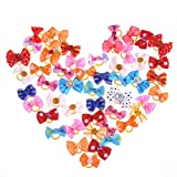50 pcs Lovely Pet Dog Cat Puppy Grooming Hair Bow Rubber Band Headdress Flower Hair Charms Accessory