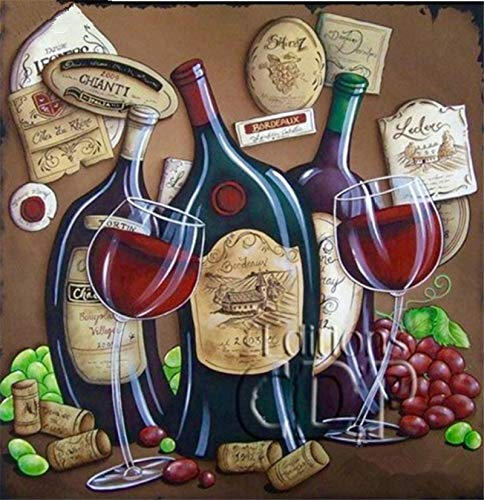 YUMEART 3D DIY Diamond Embroidery Red Wine Full Square Decorative Diamond Painting Cross Stitch Mosaic Pattern Abstract Wine Bottle