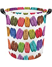 """French Macarons in A Row Coffee Shop Cookies Flavours Pastry Bakery Food Design Laundry Basket collapsible Oxford Clothes Hampers, Large Capacity 16.5""""x17"""" Kids Toy Organizer Bins for Bedroom"""