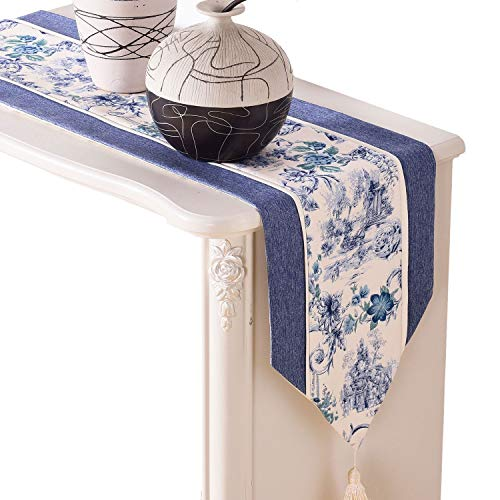 IBWell Chinese Classic Flowers Table Runner Dresser Scarf Tassel For Wedding Party Dinner Decoration (12
