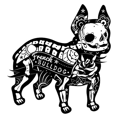 French Bulldog Skeleton Sugar Skull - Vinyl Decal for Indoor or Outdoor use, Cars, Laptops, Décor, Windows, and more (12 Inch) (8 Inch) (4 -
