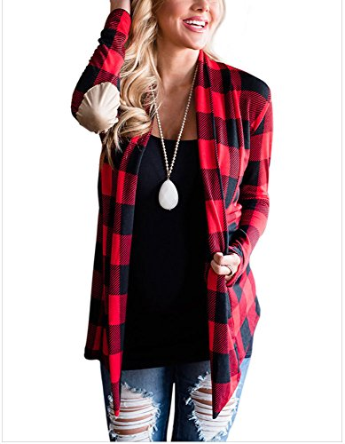 Byeth Women's Stylish Plaid Print Long Sleeve Suede Elbow Patch Draped Open Front Cardigan Sweater (Small, (Print Knit Duster)