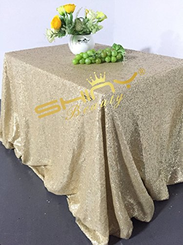 Gold Matte - ShinyBeauty 60inx102in Sequin Tablecloth For Wedding/Party-Matte Gold