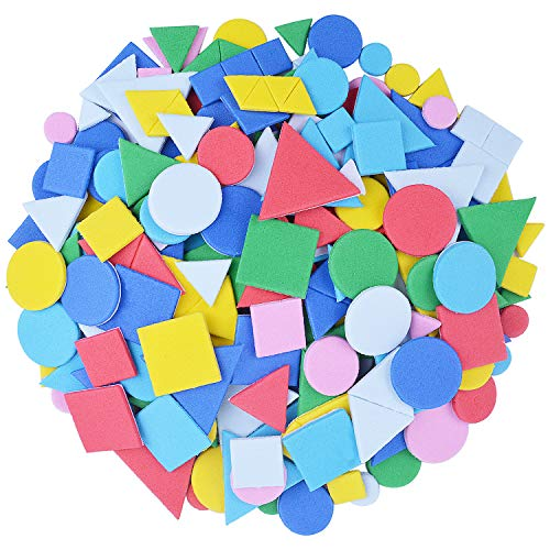 - BronaGrand 15g Small Geometry Stickers Self Adhesive EVA Foam Sticker for Creative Crafts and Arts Making, Assorted Colors(Approx.250 Pieces)