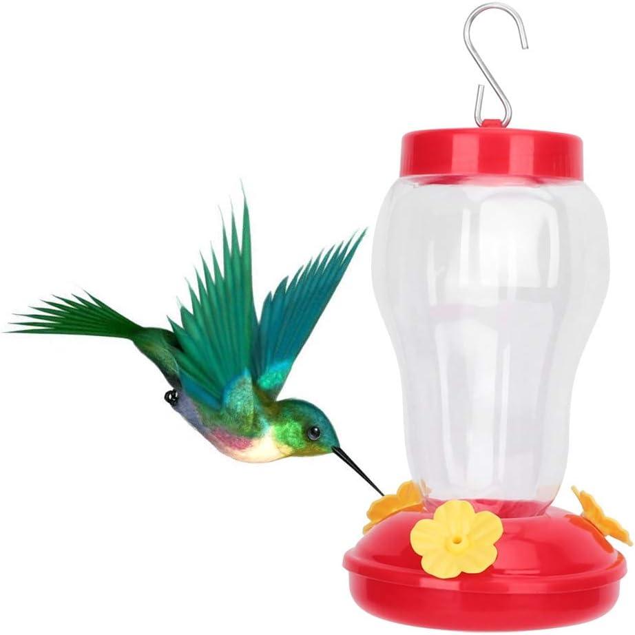 Alimentador de colibrí Colgante Colibrí Bebedero Pájaro al Aire Libre Bebedero de plástico Forma de Flor Pájaro Salvaje Dispensador de Agua(Rojo)