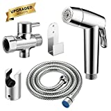 Abedoe 2018 Upgraded Handheld Bidet Sprayer for Toilet, Dual Modes Strong/Weak Water and Auto/Manual Operation Shattaf Baby Cloth Diaper Set - Electroplated ABS Sprayer & Brass T-Adaptor