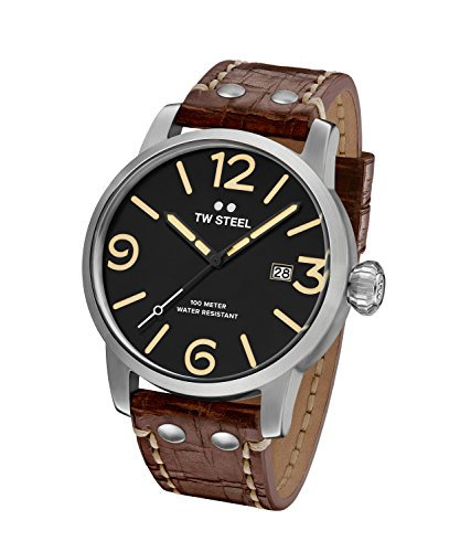 TW Steel Men's 'Maverick' Quartz Stainless Steel and Leather Casual Watch, Color Brown (Model: MS1)