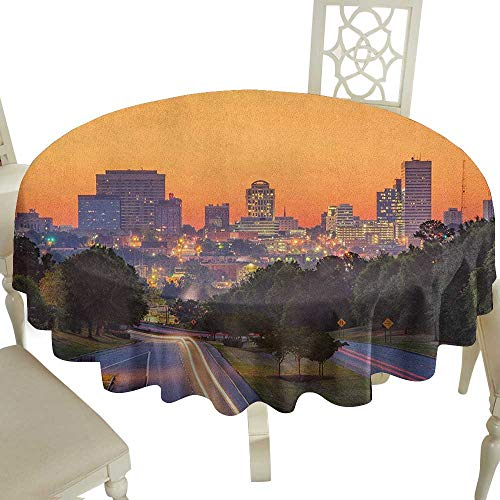 Plaid Round Tablecloth 36 Inch United States,Skyline of Columbia City South Carolina Main Street Urban Scene Orange Dark Green Blue Suitable for Party,Outdoors,Farmhouse,Coffee Shop,Restaurant More