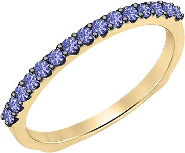 tusakha 14K Yellow Gold Plated 925 Sterling Silver Princess Tanzanite Mens Wedding Band Ring
