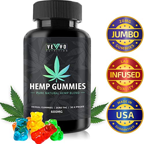 Hemp Gummies by VEYO Nutrition - 600 MG Infused Hemp - NO CBD, Canabidiol or THC - Full Spectrum Hemp Oil for Joint Pain, Inflammation Anxiety & Insomnia