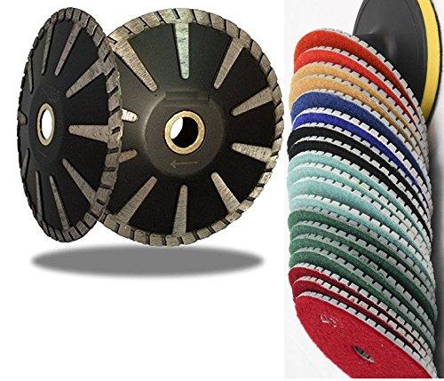 Concave Disc (5 Inch Concave Curved Blade Diamond Polishing 12+1 Pad abrasive disc For Granite & Convex Diamond Tool Turbo concrete travertine sinkwork circle shape)