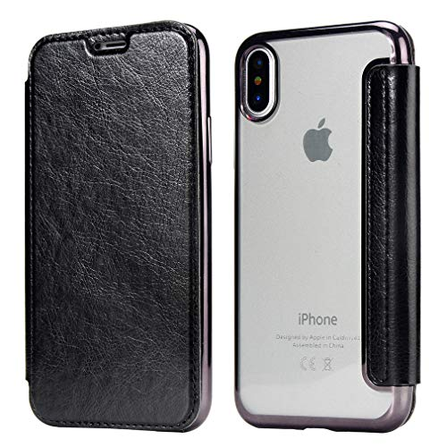 Clear Back Folio Flip Wallet Case for iPhone Xs/iPhone X with Card Slot -Soft TPU Back & PU Leather Slim Cover for Apple iPhone X/Xs - Bright Color