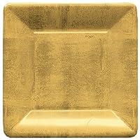 Caspari - Platos cuadrados de papel para fiestas, pan de oro, paquete de 8