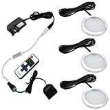 Aiboo LED Kitchen Under Cabinet Lighting Kit 3X2W 12V LED Puck Lights with RF Dimmable and UK Plug for Kitchen Lighting Book Shelf Light Under Counter Lighting Accent Lighting (Warm White(3000K))