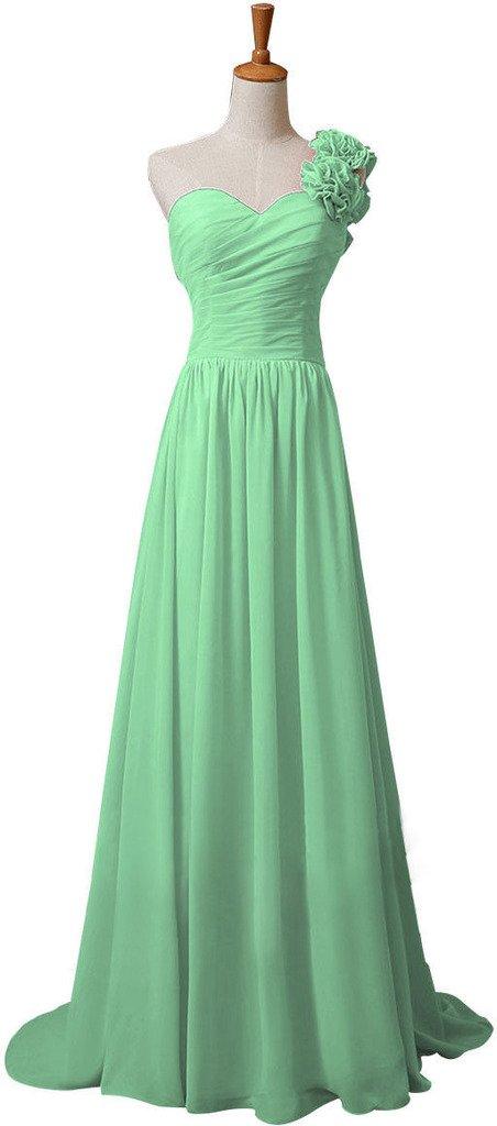 Snowskite Womens One Shoulder Chiffon Long Formal Bridesmaid Prom Dress Mint 18
