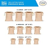 Daily Home Essentials 100% Cotton Multipurpose Canvas Produce Bags With Drawstring Closure. For Storage & Travel. 12 Pack, 4 Large 10''x12'', 4 Medium 8''x10'', 4 Small 5''x7''