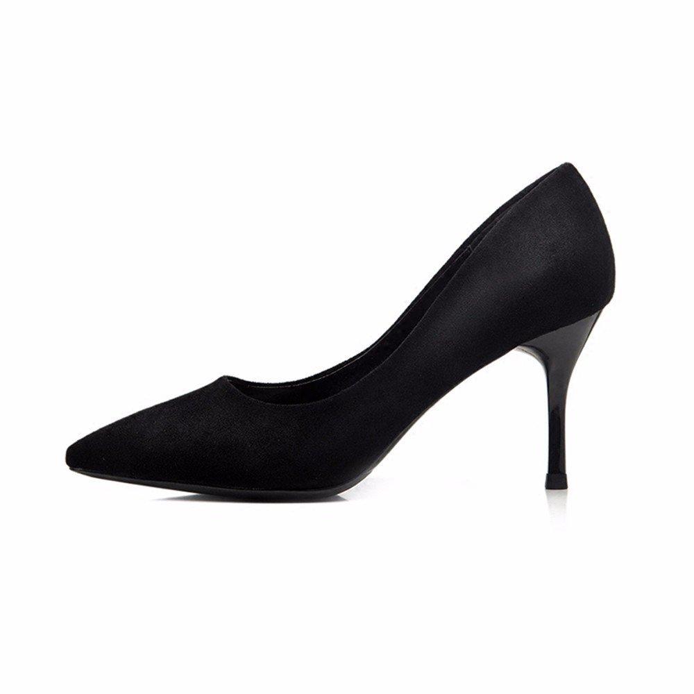 HXVU56546 Schwarze High Heels Mit Feiner Spitze Mit Wilden Professionelles Arbeiten Frauen Schuhe Einzelne Schuhe