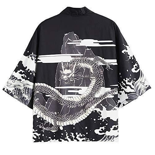 Dragon Design Kimonos - ZAFUL Men's Japanese Style Flower Fish Dragon Printed Kimono Front Open Jacket (White, 2XL)