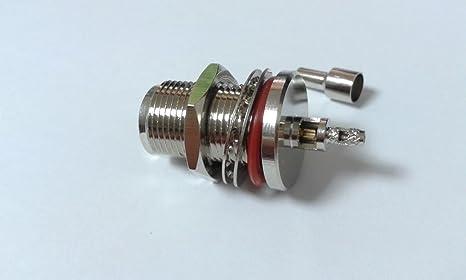 1 x N hembra Bulkhead Soldadura Crimp RG316 RG174 RG179 rfc100 adapte Cable de alta calidad