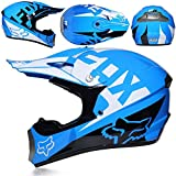 Huoduoduo Casco de Motocross Adulto Gafas máscara Guantes Fox Moto Racing Casco Completo de la Cara para el Hombre y la Mujer,F,L