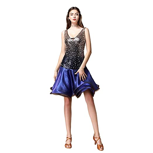 JIANPING Disfraz de Baile Latino Disfraz de Lentejuelas con Cuello ...