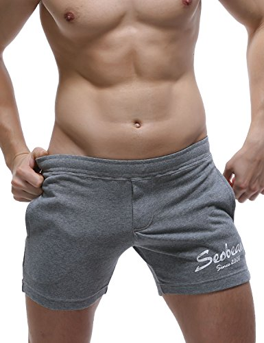 SEOBEAN Mens Low Rise Sports Soft Running Training Short Pants (Large/31-33 Inch, 2794 Gray) ()