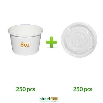 Recipiente para sopa de papel blanco con tapas de ventilación de ...