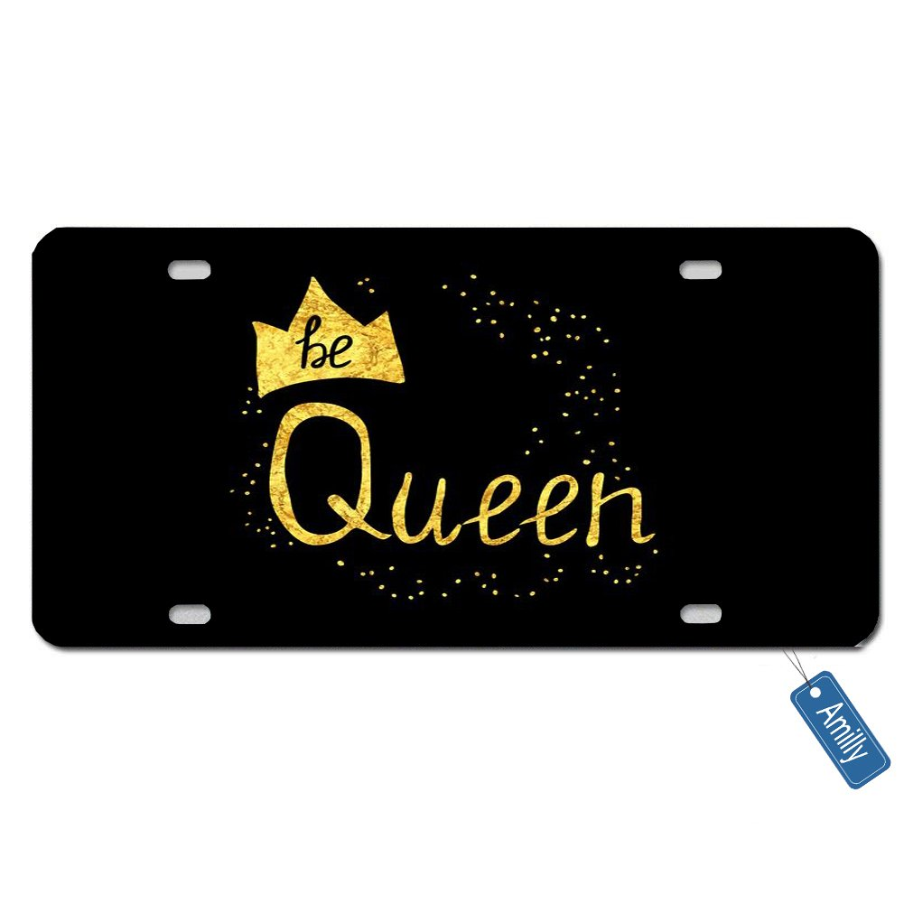 Amilly Personalized Custom Glitter Queen Black Backdrop License Plate 6'' x 12''metal License stainless steel License Fun License Plate Fun