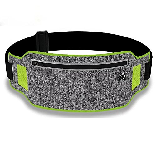 EvaTech Running Belt Waist Pack Ultra Slim Runners Belt Waterproof Fanny Pack Fitness Belt for Men & Women Cycling,Hiking,Workout, Reflective Running Pouch Fit iPhone,Android,Samsung (Green)