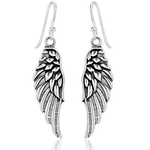 DTPsilver - Boucles d'oreilles Femme en Argent Fin 925 en Forme de Aile d'ange