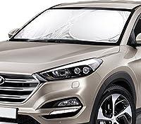 Car Sun Shade: BlizeTec Premium Windshield Protector with Blind Spot Mirrors and Dashboard Anti-Slip Pad; Sedan, SUV and Mini Van Friendly