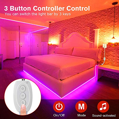 LED Strip Lights, MOSFiATA 23ft Waterproof Bluetooth Color Changing LED Lights Strip, App Controlled+24 Key IR Remote Control, 16 Million Colors RGB Tape Lights for Kitchen, TV, Party, Home Decoration