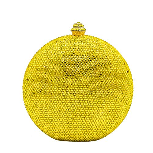 Yellow Round Circular Crystal Clutch Evening Bag Mini Metal Minaudiere Clutches Wedding Party Bridal
