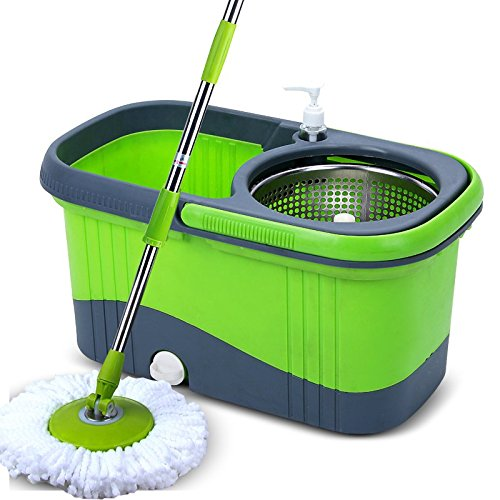 Home Kitchen 360 Degree Spin Mop Bucket System w/ Stainless