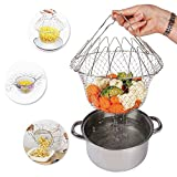 MQB Stainless Steel Foldable Steam Rinse Strain Fry Chef Basket Strainer Net Kitchen Cooking Tool