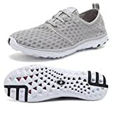 Fantiny Women's Quick Drying Aqua Water Shoes Mesh Slip-On Athletic Sport Casual Sneakers for Men,XLSX01-Grey-43