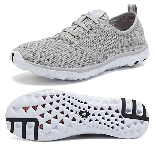 Fantiny Women's Quick Drying Aqua Water Shoes Mesh Slip-On Athletic Sport Casual Sneakers for MenXLSX01-Grey-35