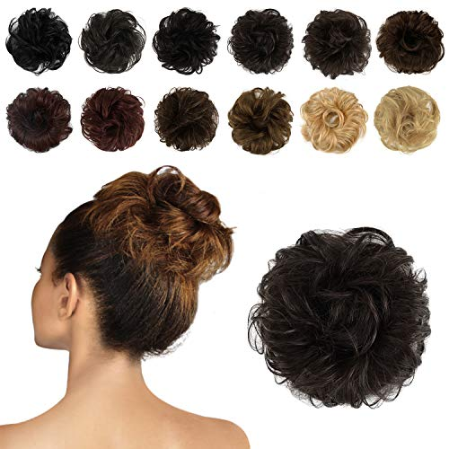 FESHFEN 100% Human Hair Scrunchies 4# Brown Curly Messy Hair Bun Extensions Wedding Hair Pieces for Women Kids Hair Updo Donut Chignons