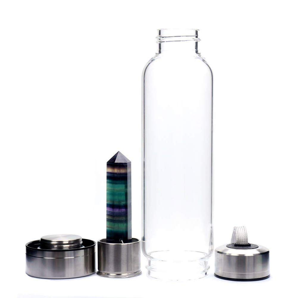 CTlite Botella de Agua de Cristal, 500 ML, Botella de Agua de Cristal Decorada con Varita de Cristal de Cuarzo Natural, Colorful Fluorite