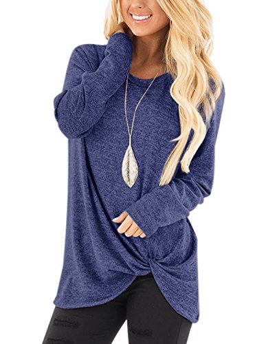 AELSON Women's Casual Long Sleeve Shirt Knot Side Twist Knit Tunic Tops Blouses - Knot Cloth Womens