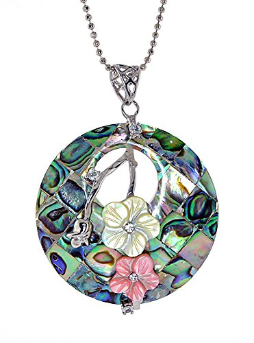 Mosaic Abalone, Yellow and Pink Flower Mother-of-Pearl, Round Pendant Necklace