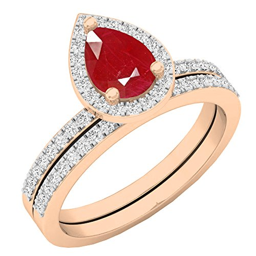 (Dazzlingrock Collection 10K 7X5 MM Pear Ruby & Round Diamond Ladies Bridal Engagement Ring Set, Rose Gold, Size 10 )