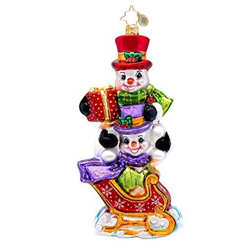 Christopher Radko Glass Snowman Dashing Through the Snow Christmas Ornament #1017319